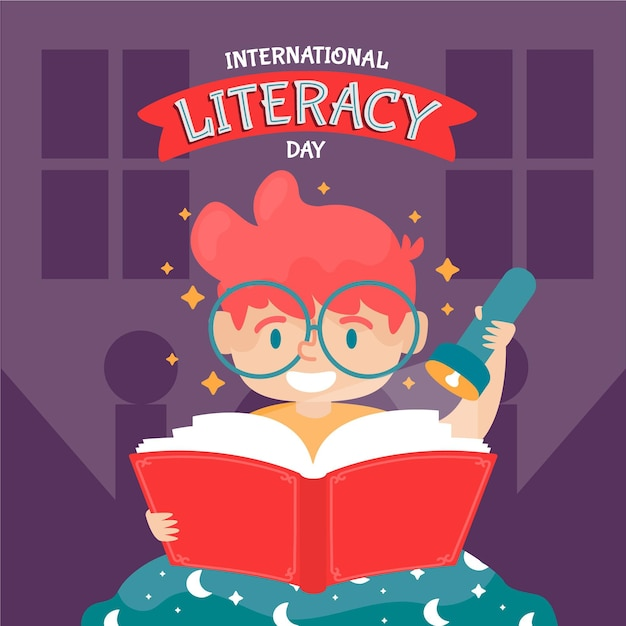 Día internacional de alfabetización dibujado a mano vector gratuito