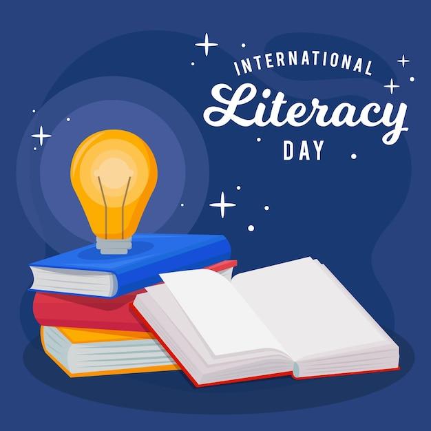 Día internacional de alfabetización de diseño plano con libros y bombilla vector gratuito