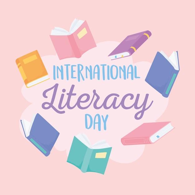 Día internacional de la alfabetización, escuela de educación de muchos libros. Vector Premium