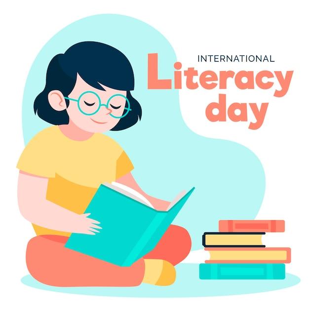 Día internacional de alfabetización de estilo dibujado a mano vector gratuito