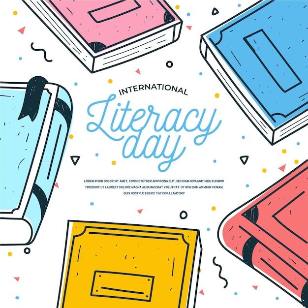 Día internacional de alfabetización de estilo dibujado a mano Vector Premium
