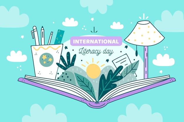 Día internacional de la alfabetización con libro abierto vector gratuito