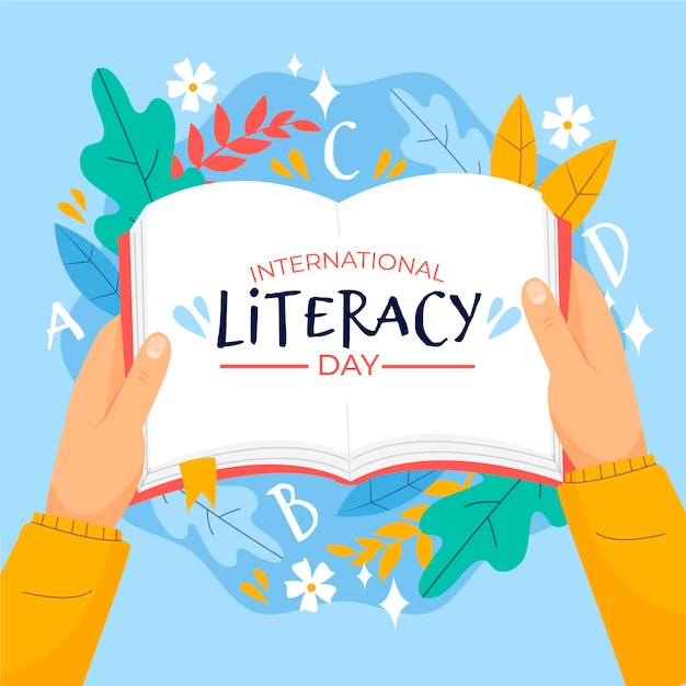 Día internacional de la alfabetización con libro abierto Vector Premium