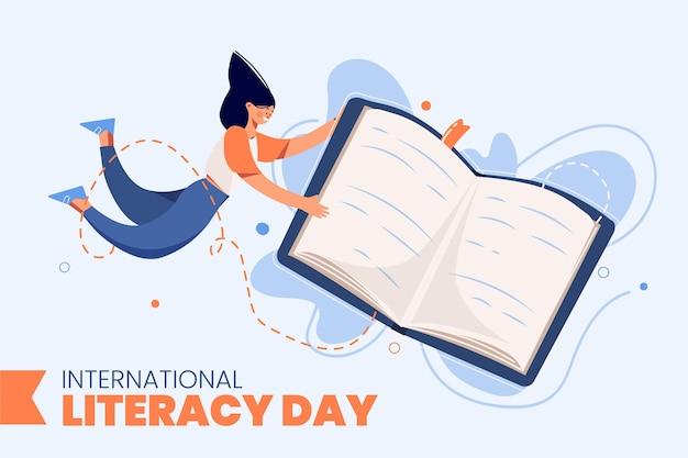 Día internacional de la alfabetización con libro y mujer. vector gratuito