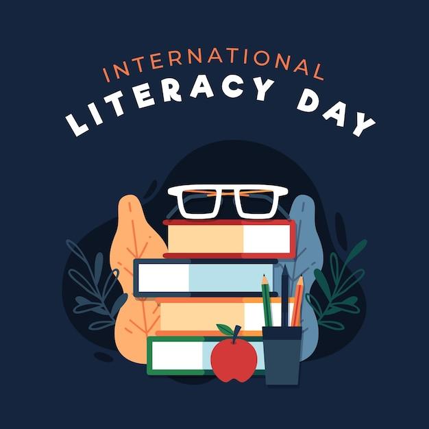 Día internacional de la alfabetización con libros. vector gratuito