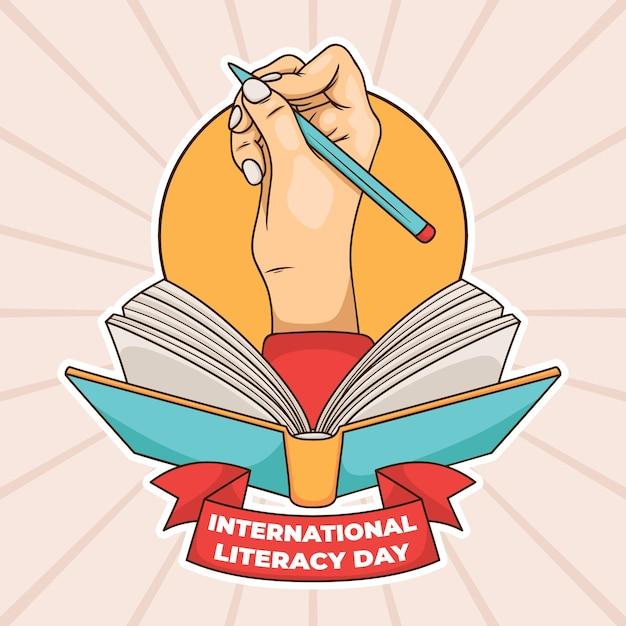 Día internacional de la alfabetización con mano y libro Vector Premium