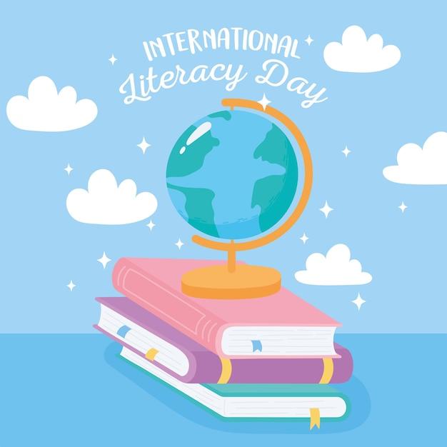 Día internacional de la alfabetización, mapa del mundo escolar en libros Vector Premium
