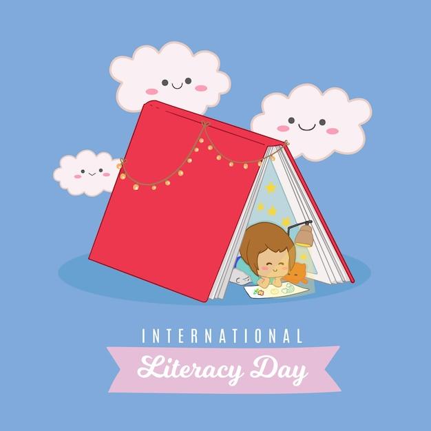 Día internacional de alfabetización con niño y libro vector gratuito