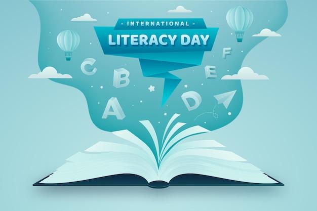 Día internacional de la alfabetización en papel Vector Premium
