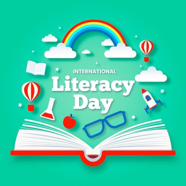 Día internacional de la alfabetización en papel vector gratuito