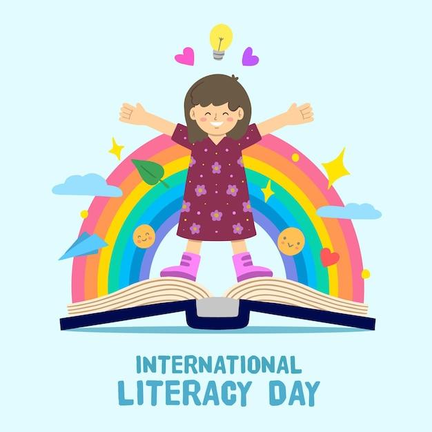 Día internacional de alfabetización con persona y arcoiris vector gratuito