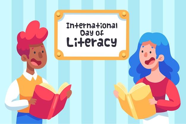 Día internacional de alfabetización con personas y libros. vector gratuito