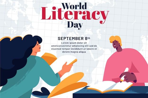 Día internacional de alfabetización plana Vector Premium
