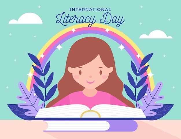 Día internacional de la alfabetización vector gratuito