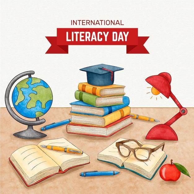 Día internacional de la alfabetización Vector Premium