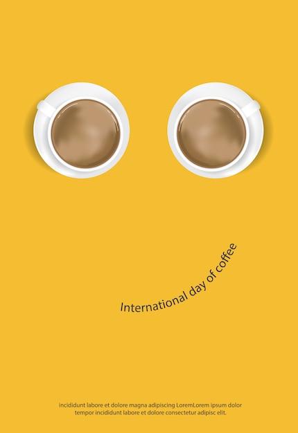Día internacional del café cartel anuncio flayers ilustración vectorial vector gratuito