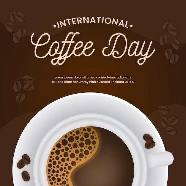 Día internacional del café en diseño plano. vector gratuito