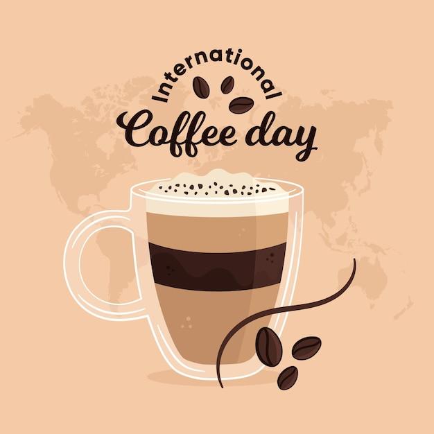 Día internacional del café con taza. vector gratuito