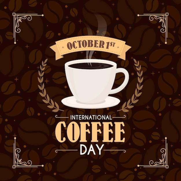 Dia internacional del cafe vector gratuito