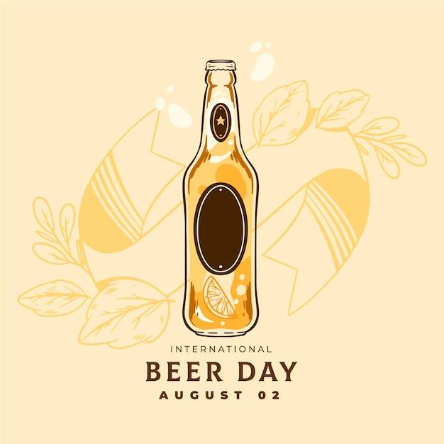 Día internacional de la cerveza con botella. vector gratuito