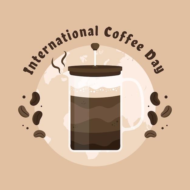 Día internacional del concepto de café. vector gratuito