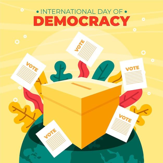 Día internacional de la democracia con votación. vector gratuito