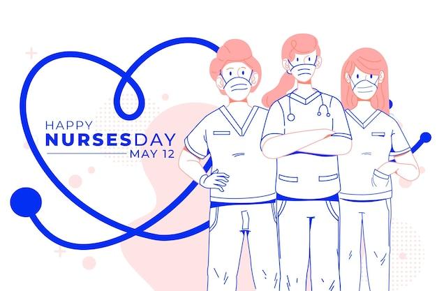 Día internacional de las enfermeras ayudando al concepto de personas Vector Premium