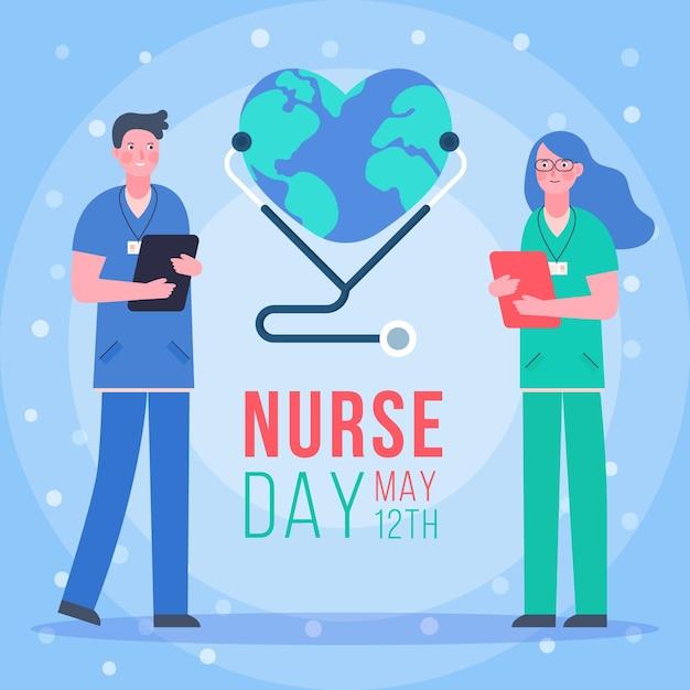 Día internacional de enfermeras con personas vector gratuito