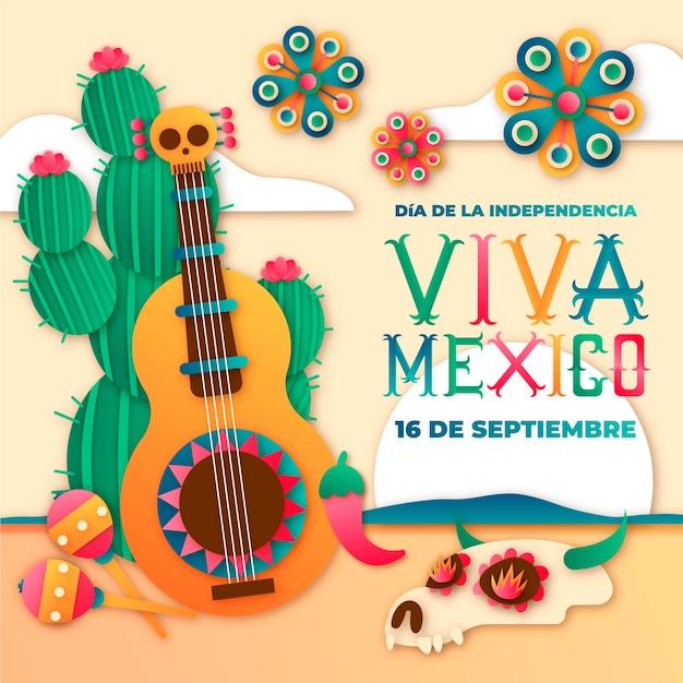 Día internacional del estilo de papel de méxico con guitarra vector gratuito