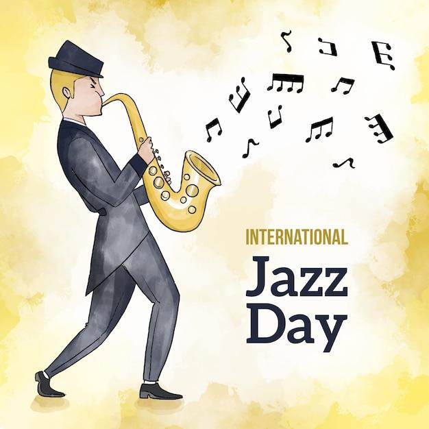 Día internacional del jazz en acuarela vector gratuito