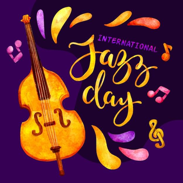 Día internacional del jazz con violonchelo vector gratuito