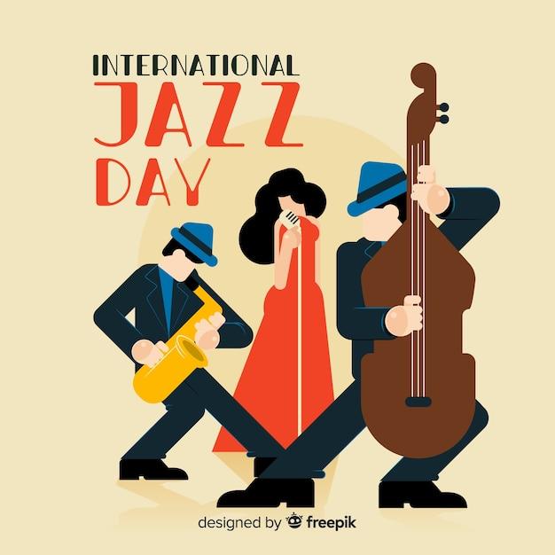 Día internacional del jazz vector gratuito
