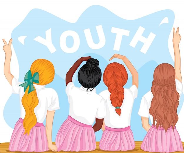 Día internacional de la juventud. 12 de agosto. campaña de cuatro adolescentes apasionadas ilustración Vector Premium
