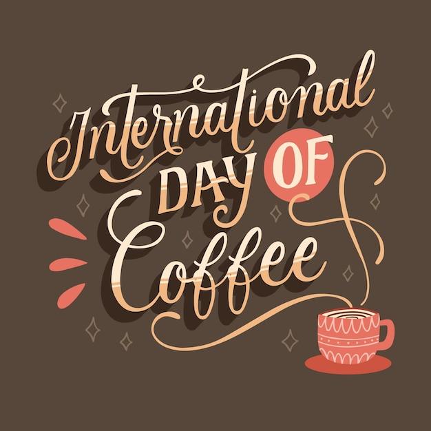 Día internacional de las letras del café. vector gratuito