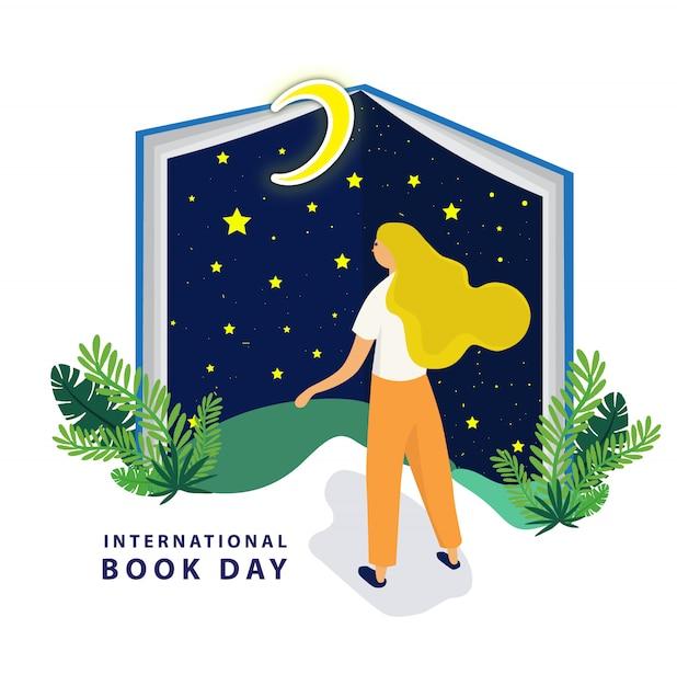 Día internacional del libro con gran libro nocturno. Vector Premium