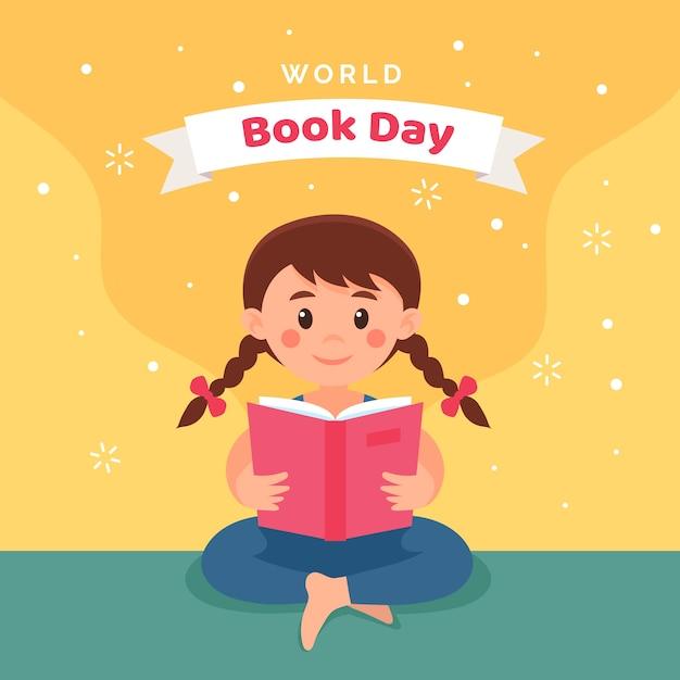Día internacional del libro lectura infantil vector gratuito