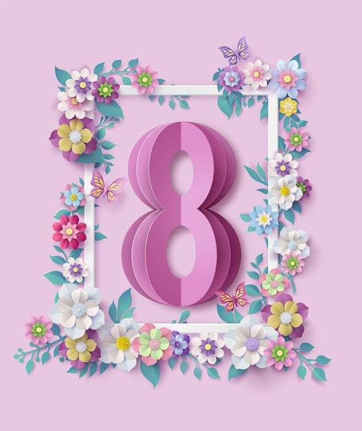 Día internacional de la mujer 8 de marzo Vector Premium