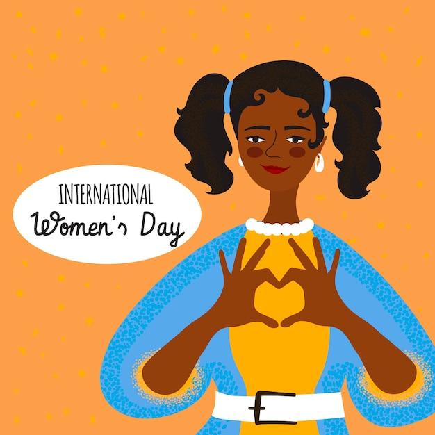 Día internacional de la mujer dibujado a mano Vector Premium