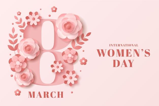 Día internacional de la mujer en estilo papel con fecha. vector gratuito