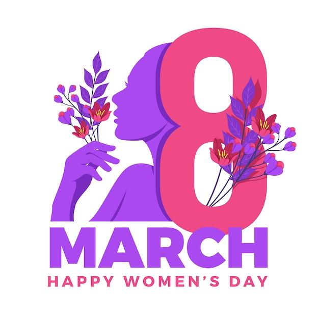Día internacional de la mujer con flores y fecha. vector gratuito
