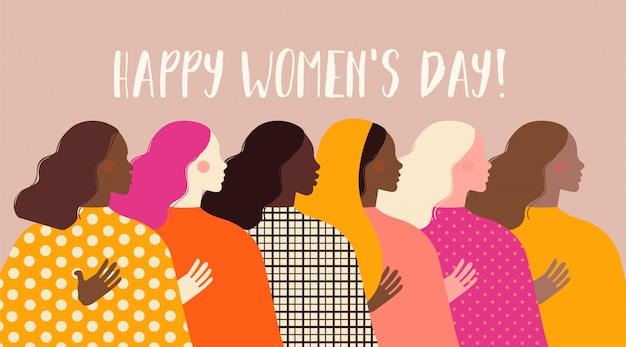 Día internacional de la mujer. ilustración con mujeres de diferentes nacionalidades y culturas. Vector Premium