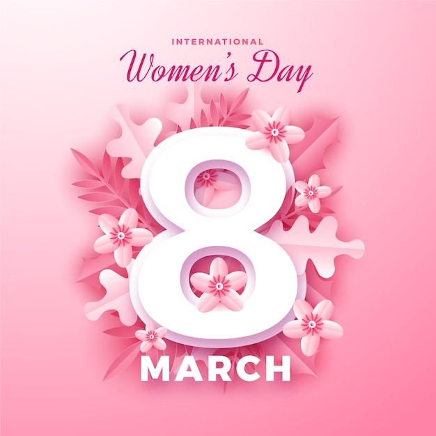 Día internacional de la mujer en papel. vector gratuito