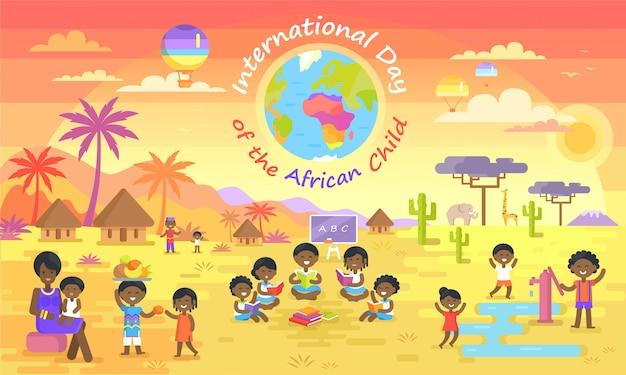 Día internacional del niño africano en cartel de color Vector Premium