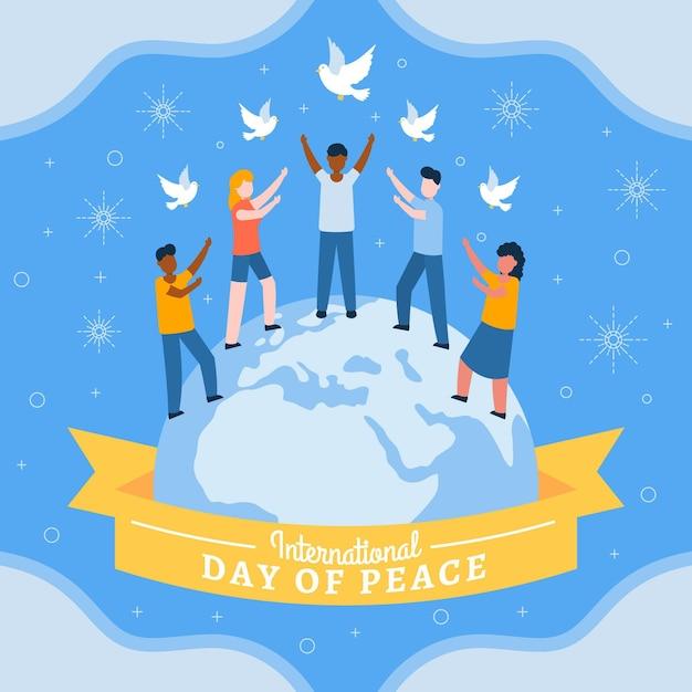 Día internacional de paz con la gente. Vector Premium