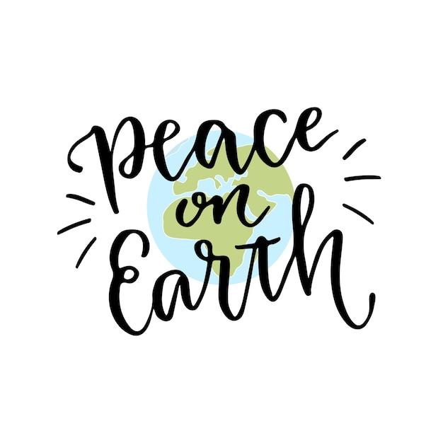 Dia Internacional De La Paz Mano Letras Caligrafía Con