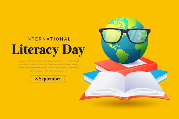 Día internacional realista de alfabetización Vector Premium