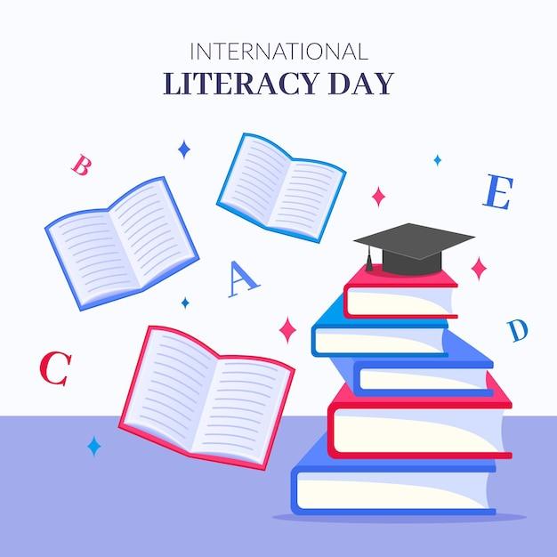 Día internacional realista de alfabetización vector gratuito