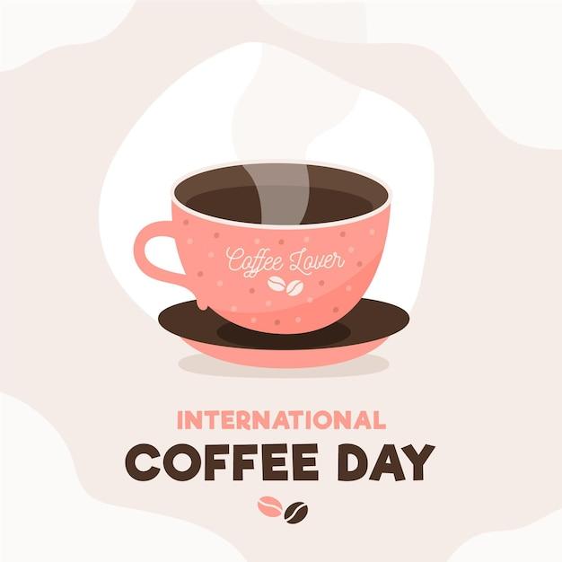 Día internacional de la taza de café con vapor. Vector Premium