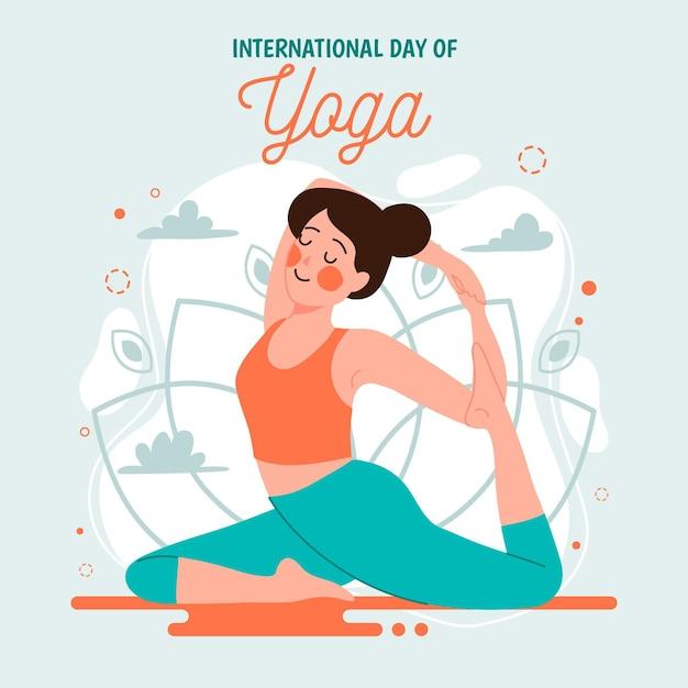 Día internacional de yoga con estiramiento de mujer vector gratuito