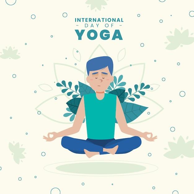 Día internacional de yoga con hombre y hojas. vector gratuito